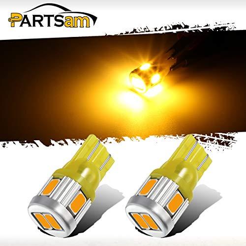 Partsam 2X T10 W5W 194 2825 Amber LED Light Bulbs 6-5730-SMD Car Truck Parking LED Parking Light Bulbs Side Door Courtesy Light Stepwell Light