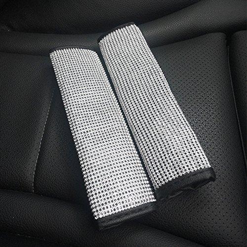U&M 2 Packs Bling Bling Seat Belt Shoulder Pads Luster Crystal Car Seatbelt Covers Diamond Car Decor Accessories for Women