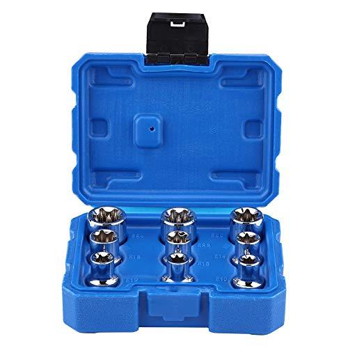 9Pcs 12 Drive E-Type Torx Star Bit Socket Set E10-E24 Repair Tool Kit for Cars Trucks Motorcycles ATV