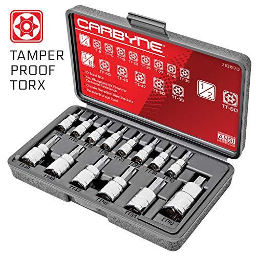 CARBYNE 14 Piece Tamper Proof Torx Bit Socket Set T-8 to T-60 Sizes S2 Steel Bits CRV Sockets  14-inch 38-inch 12-inch Drive