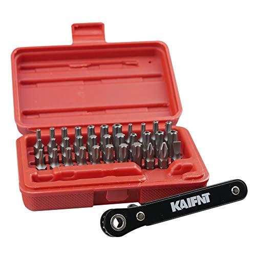 KAIFNT K403 Comprehensive Torx Bit Set with Mini Ratchet Wrench 14-Inch Drive 34-Piece