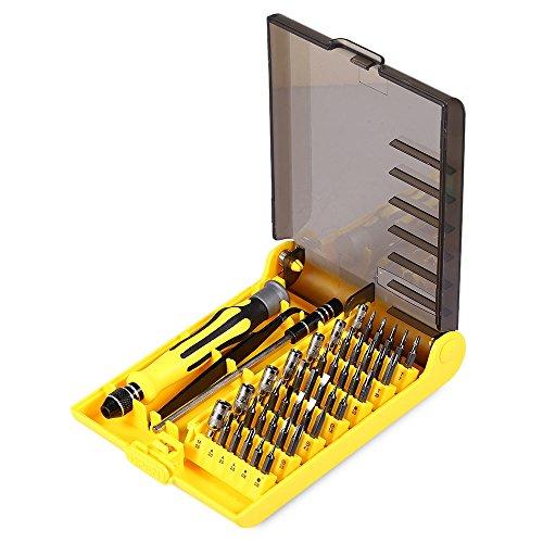 45 in 1 Interchangeable Screwdriver Tool Set Box with Tweezer Hard Extension Shaft Extension Bar Handle CRV Socket