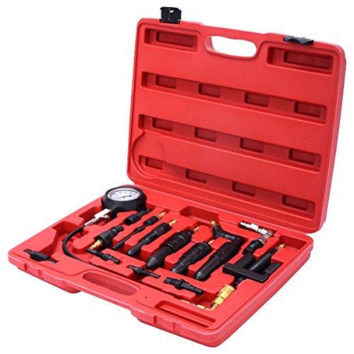 Goplus 16 pc Diesel Engine Compression Gauge Tester Cylinder Pressure Test Set Kit For Auto Tractor Semi With Case