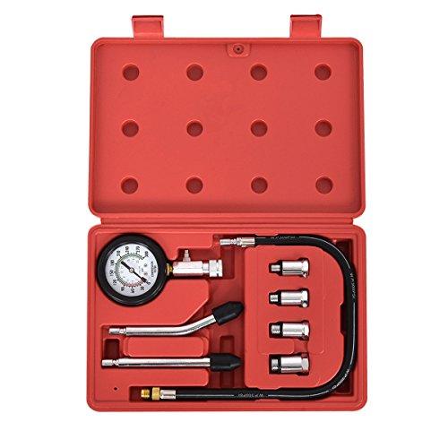 Goplus 8 PCS Professional Petrol Gas Engine Cylinder Compression Tester Pump Test Gauge Kit for Car Truck