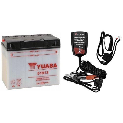 Yuasa YUAM2219A 51913 Battery and Automatic Charger Bundle