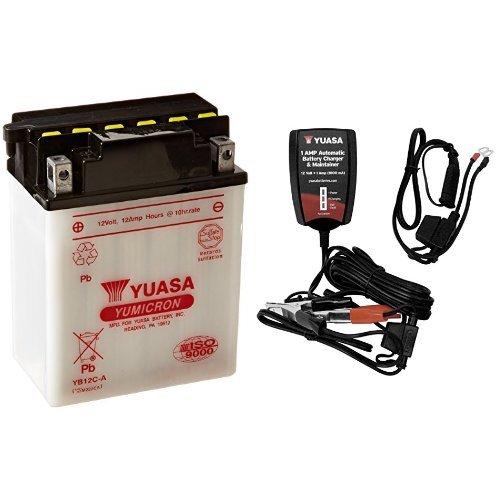 Yuasa YUAM222CA YB12C-A Battery and Automatic Charger Bundle