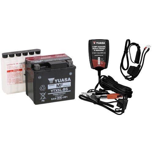 Yuasa YUAM32X5B YTX5L-BS Battery and Automatic Charger Bundle