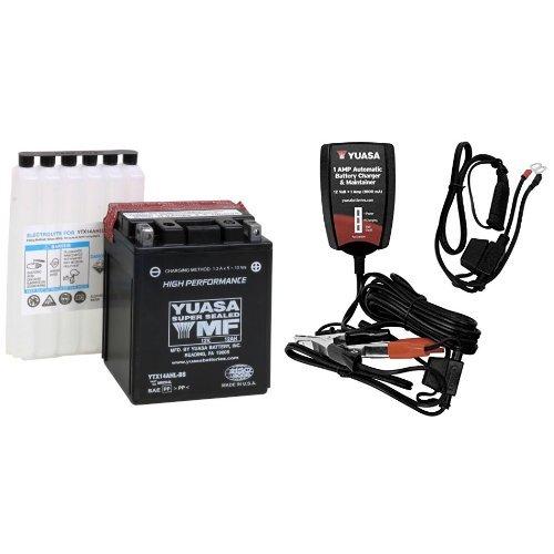 Yuasa YUAM62H4L YTX14AHL-BS Battery and Automatic Charger Bundle