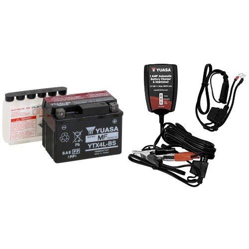 Yuasa YUAM62X4B YTX4L-BS Battery and Automatic Charger Bundle
