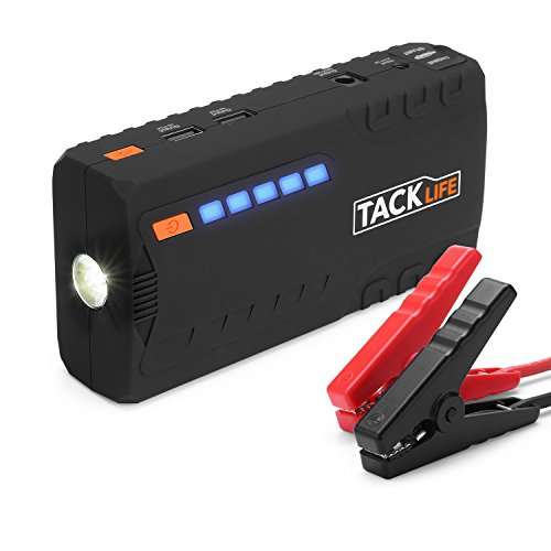 Car Jump Starter TACKLIFE 600A Peak up to 62L Gas 50L Diesel Engine Auto Battery Booster and Power Bank Phone Charger with Quickcharge Built-in LED Light and Smart Jumper Cables