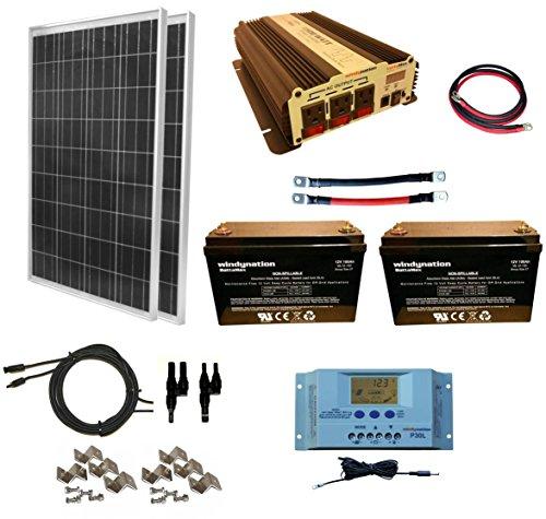 WindyNation 200 Watt 2pcs 100 Watt Solar Panel Kit  1500W Power Inverter  200ah 12 Volt AGM Deep Cycle Battery Bank for RV Boat Off-Grid