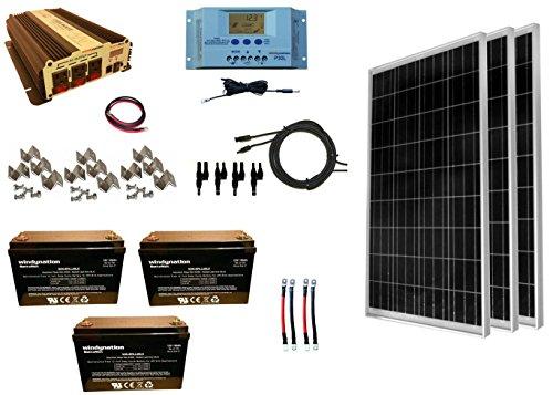 WindyNation 300 Watt 3pcs 100W Solar Panel Kit  1500 Watt VertaMax Power Inverter  AGM Battery Bank for RV Boat Cabin Off-Grid 12 Volt Battery System