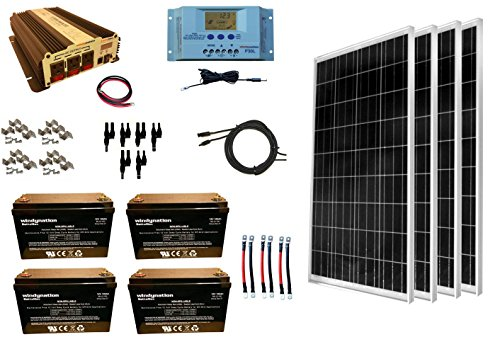 WindyNation 400 Watt 4pcs 100W Solar Panel Kit  1500 Watt VertaMax Power Inverter  AGM Battery Bank for RV Boat Cabin Off-Grid 12 Volt Battery System