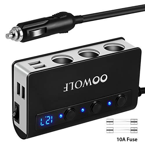 OOWOLF Cigarette Lighter Adapter Quick Charge 30 180W 12V24V 3-Socket Splitter 4 USB Ports Car Power Adapter for GPS Dash Cam Sat Nav Phone iPad Tablet etc