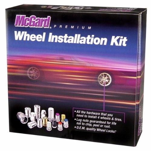 McGard 84538 ChromeBlack M12 x 15 Thread Size Bulge Style Cone Seat Wheel Installation Kit for 5-Lug Wheels