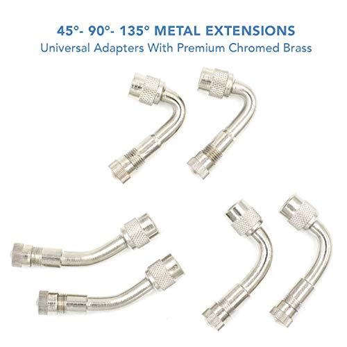 CKAuto 6 Pack 45 Degree 90 Degree 135 Degree Metal Valve Stem Extenders Universal Valve Stem Extensions Silver