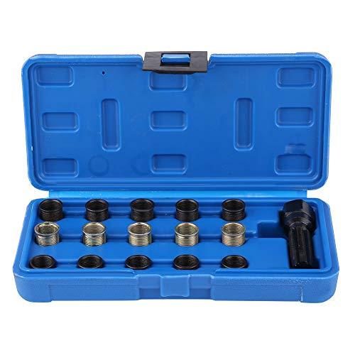 GOTOTOP Spark Plug Thread Repair Tool-16Pcs 14mm x 125 Spark Plug Thread Repair Tool Kit M16 Tap WPortable Case