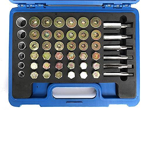 SUNROAD 114pcs Oil Pan Drain Sump Plug Key Thread Repair Tool Kit Set Drain Plug with Carry Case