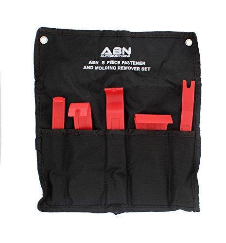 ABN Premium Auto Trim Removal Tool Kit - 5 Piece Pry Bar Set  Fastener Remover -Auto Body Repair Tools - Trim Molding Interior Door Dash Panel Remover