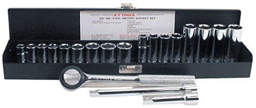 K-T Industries 1-5323 38 Drive x mm Socket Set 22 Piece