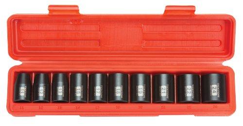 TEKTON 12-Inch Drive Shallow Impact Socket Set Metric Cr-V 6-Point 11 mm - 24 mm 10-Sockets  4815