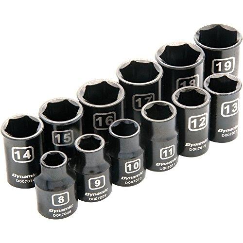 Dynamic Tools D010022 38 Drive 6 Point Metric Standard Impact Socket Set 12 Piece 8mm to 19mm
