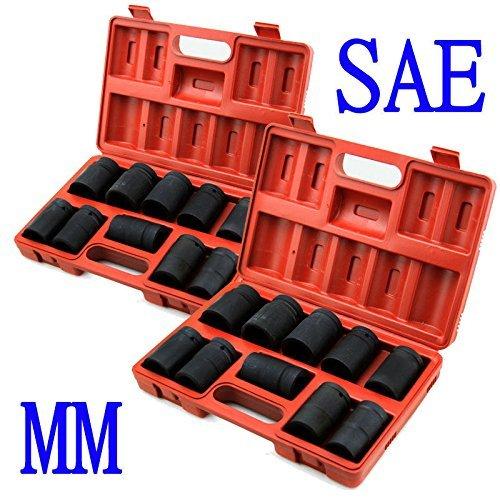 Generic d Size Standard Size t Standard Impact Sockets Set Set Sta Set SAEMM 20PC 1 lack Imp Mechanic Tools ow Bla Shallow Black