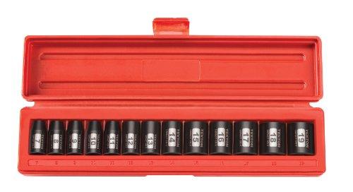TEKTON 38-Inch Drive Shallow Impact Socket Set Metric Cr-V 6-Point 7 mm - 19 mm 13-Sockets  47915