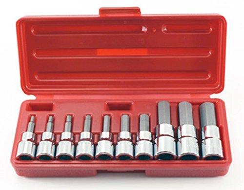 Cal Hawk Tools ASSHB10M 38 12 Drive Metric Hex Bit Socket Set 10 Piece