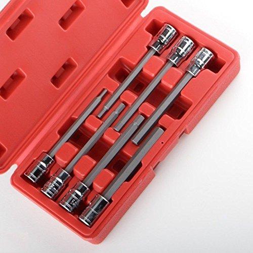 Extra Long Hex Allen Bit Socket Set 7Pieces With Case 38 Metric Automotive Mechanics Tool Sets - House Deals