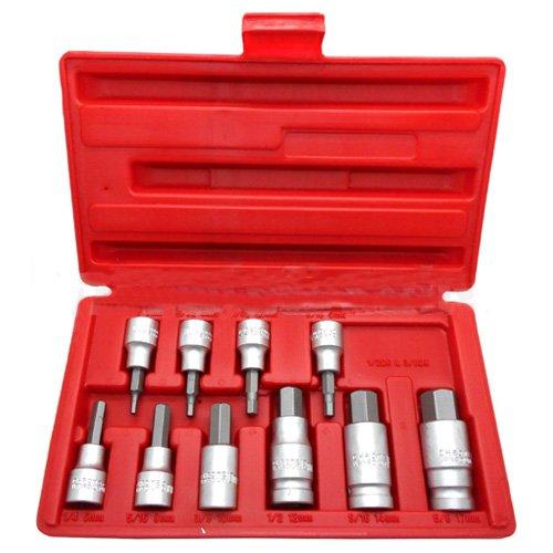 Simply Silver - 10pc 38 12 Drive Hex Key Allen Head METRIC Socket Bit Set 3-17 MM