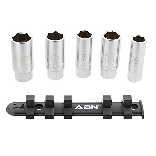 ABN 38 Inch Drive SAE and Metric Spark Plug Socket Set 6 Pt Spark Plug Tool Set with Rubber Rings and Socket Rail 5pc
