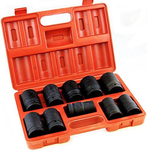 10pc Drive Tool Socket Set Sae Size Inch Black Impact Ratchet Deep Standard Size