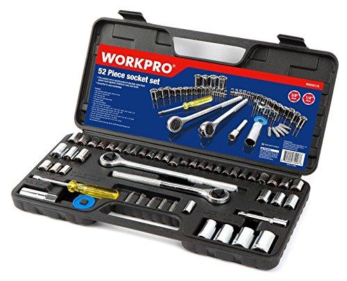 52PC Sockets Set 38 12 Ratchet Drive Metric SAE Size Mechanics Tool