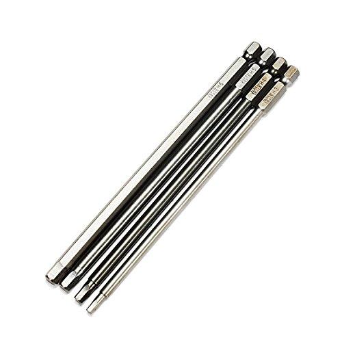 Letbo New 4pcs 150mm 3-6mm Hex Head Screwdriver Bits 14 Inch Hex Magnetic Electric Screwdriver