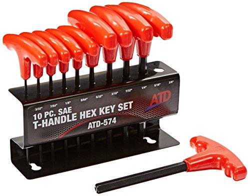 ATD Tools 574 10-Piece SAE T-Handle Hex Key Set