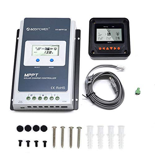 ACOPOWER 30A MPPT Solar Charge Controller HY-MPPT30A Remote Meter MT-50 Solar Charge with LCD Display for Solar Battery Charging