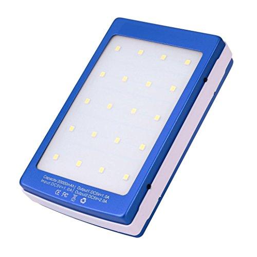Fullfun 20000mAh LED Dual USB Portable Solar Battery Charger Power Bank blue