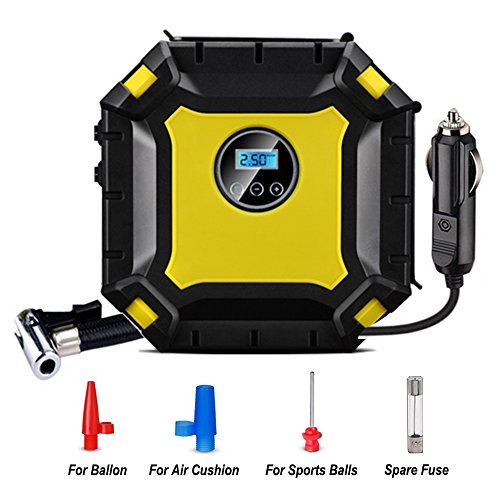 MDee DC12V 100 PSI portable digital auto spare tire inflator with gauge Air Compressor Pump Tire inflator for car bicycle bike motorcycle RV SUV ATV truck basketball soccer air bed etc