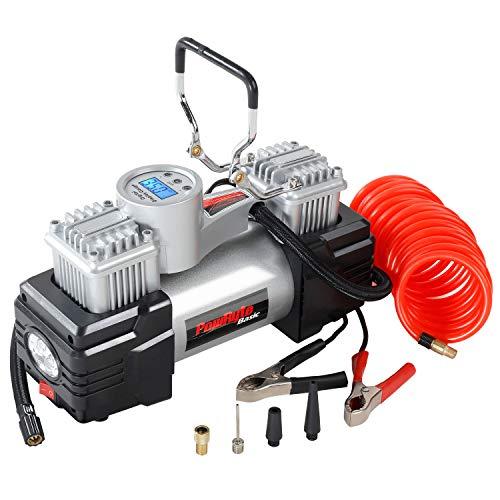 Azoran Dual Cylinder 120PSI Digital Tire Inflator- 12-Volt Portable Auto Air Compressor with 4pc LED Light
